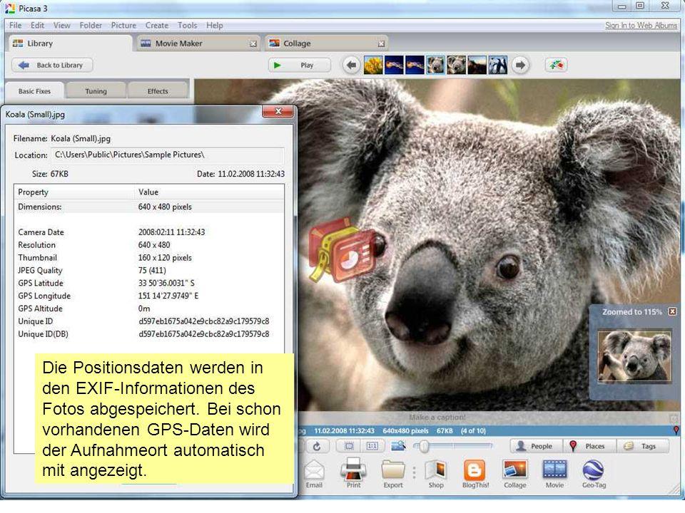 Die Positionsdaten werden in den EXIF-Informationen des Fotos abgespeichert.