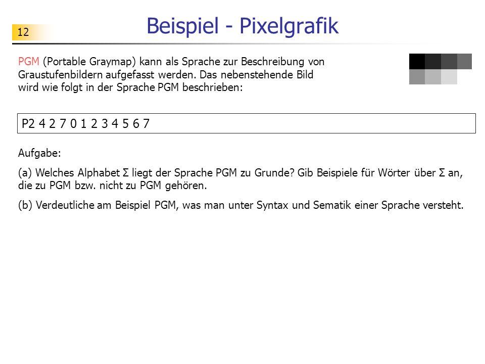 12 Beispiel - Pixelgrafik PGM (Portable Graymap) kann als Sprache zur Beschreibung von Graustufenbildern aufgefasst werden. Das nebenstehende Bild wir