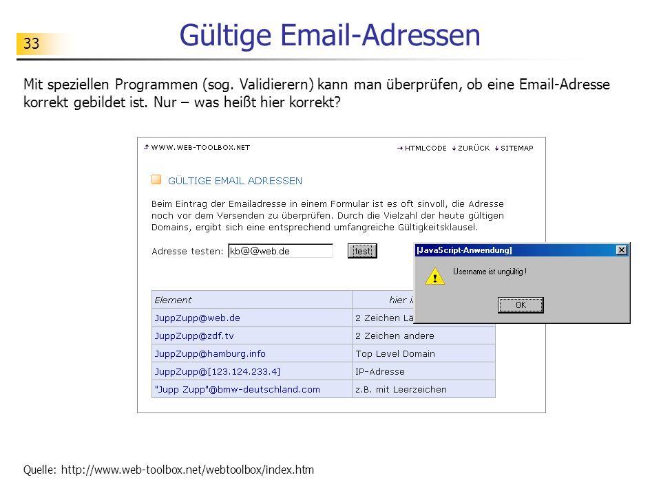 33 Gültige Email-Adressen Mit speziellen Programmen (sog. Validierern) kann man überprüfen, ob eine Email-Adresse korrekt gebildet ist. Nur – was heiß