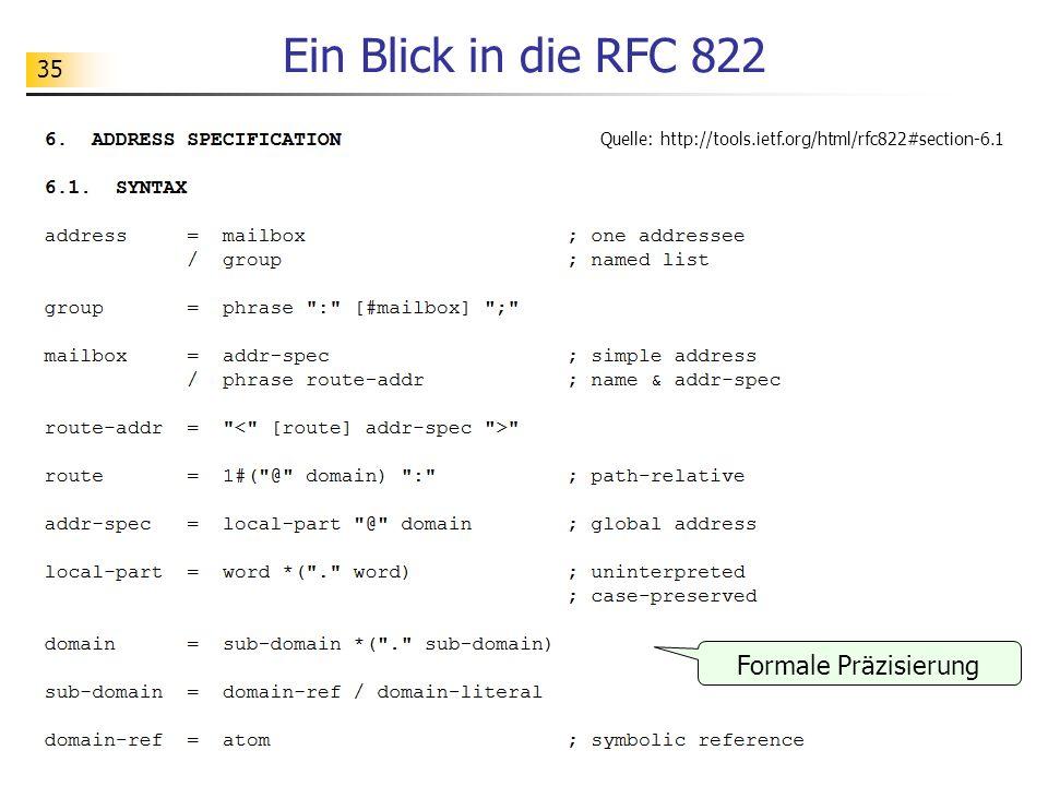 35 Ein Blick in die RFC 822 Quelle: http://tools.ietf.org/html/rfc822#section-6.1 Formale Präzisierung