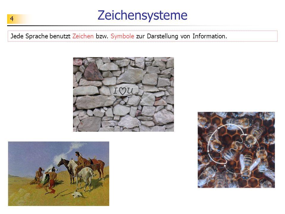 4 Zeichensysteme Jede Sprache benutzt Zeichen bzw. Symbole zur Darstellung von Information.