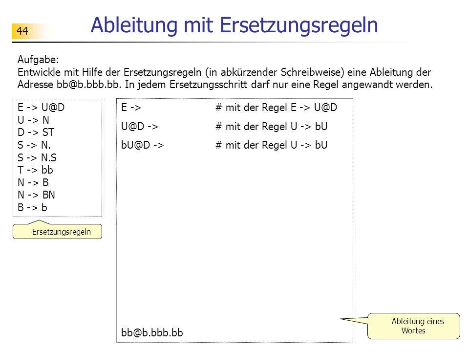 44 Ableitung mit Ersetzungsregeln E -> # mit der Regel E -> U@D U@D -> # mit der Regel U -> bU bU@D -> # mit der Regel U -> bU bb@b.bbb.bb E -> U@D U
