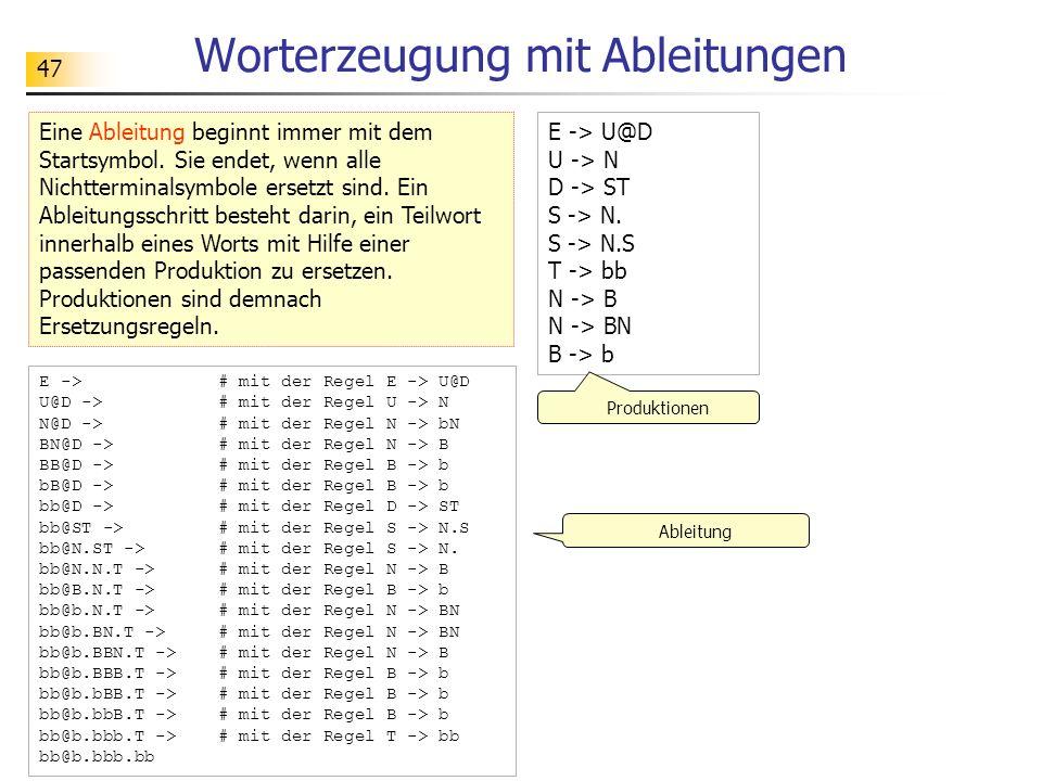 47 Worterzeugung mit Ableitungen Eine Ableitung beginnt immer mit dem Startsymbol. Sie endet, wenn alle Nichtterminalsymbole ersetzt sind. Ein Ableitu