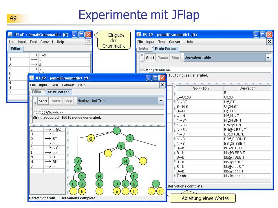 49 Experimente mit JFlap Eingabe der Grammatik Ableitung eines Wortes