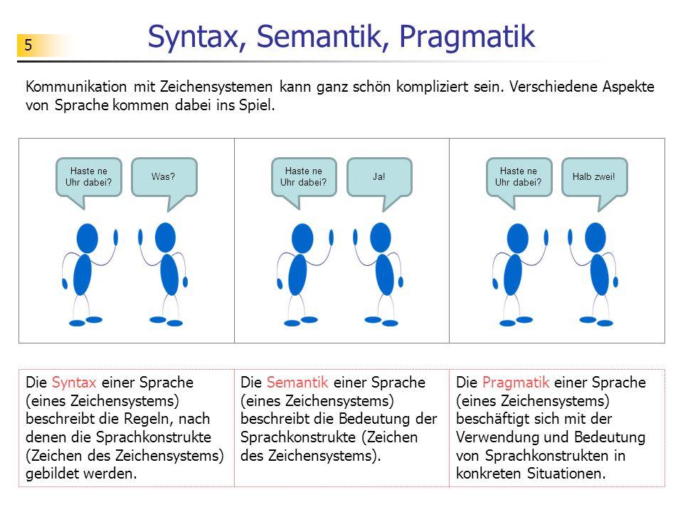 5 Syntax, Semantik, Pragmatik Haste ne Uhr dabei? Was? Haste ne Uhr dabei? Ja! Haste ne Uhr dabei? Halb zwei! Die Syntax einer Sprache (eines Zeichens