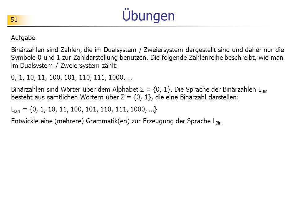 51 Übungen Aufgabe Binärzahlen sind Zahlen, die im Dualsystem / Zweiersystem dargestellt sind und daher nur die Symbole 0 und 1 zur Zahldarstellung be