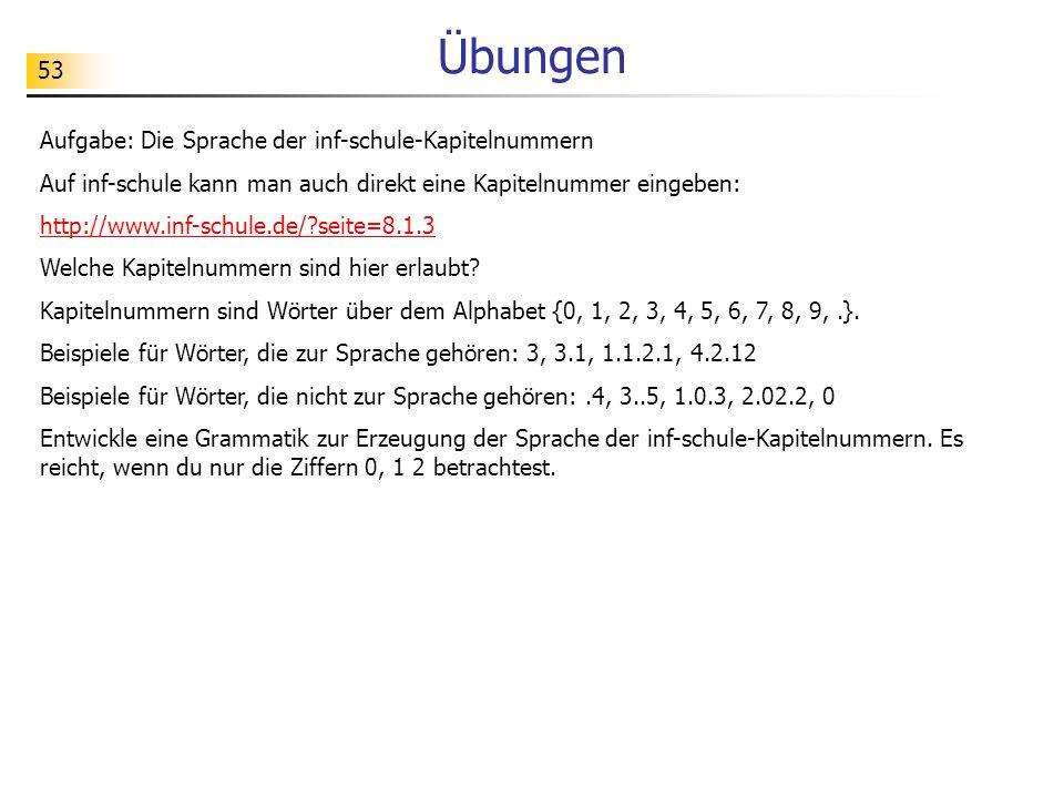 53 Übungen Aufgabe: Die Sprache der inf-schule-Kapitelnummern Auf inf-schule kann man auch direkt eine Kapitelnummer eingeben: http://www.inf-schule.d