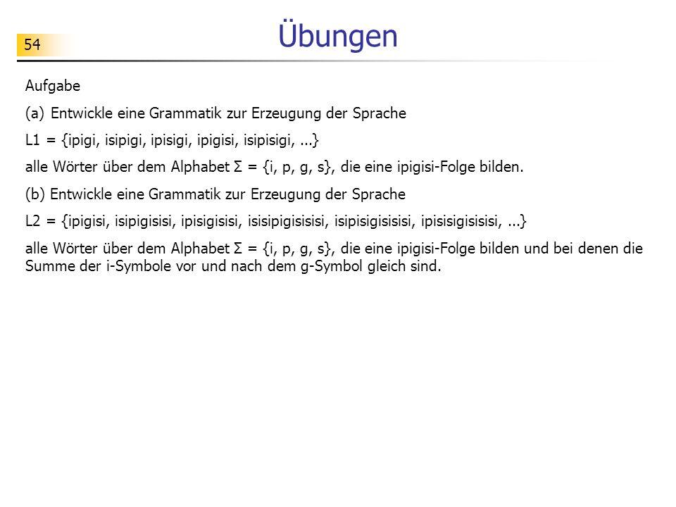 54 Übungen Aufgabe (a)Entwickle eine Grammatik zur Erzeugung der Sprache L1 = {ipigi, isipigi, ipisigi, ipigisi, isipisigi,...} alle Wörter über dem A