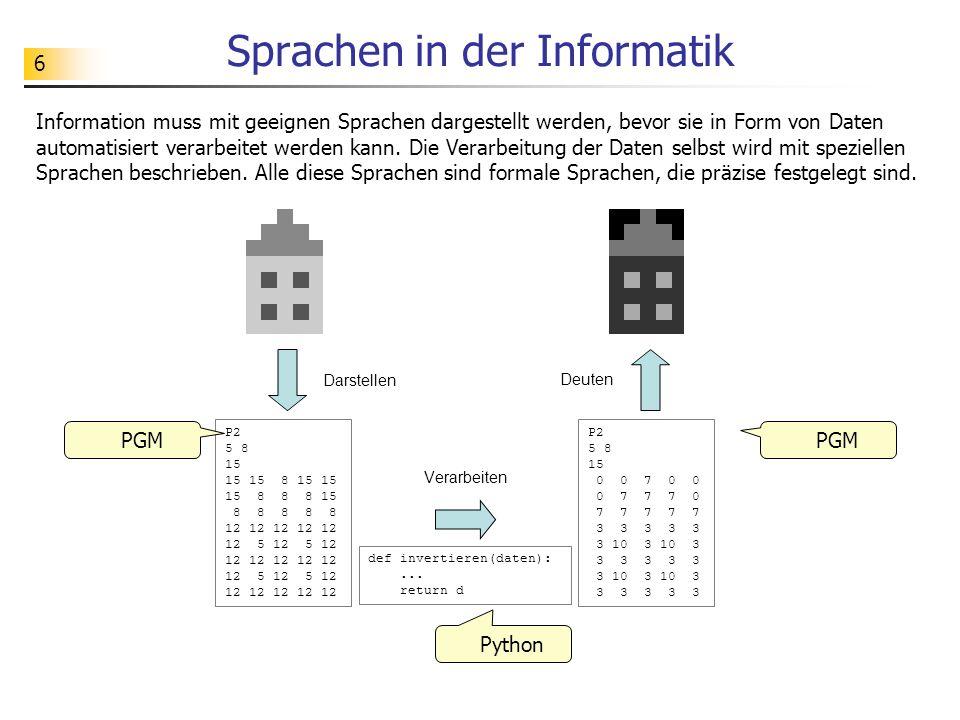 6 Sprachen in der Informatik Information muss mit geeignen Sprachen dargestellt werden, bevor sie in Form von Daten automatisiert verarbeitet werden k