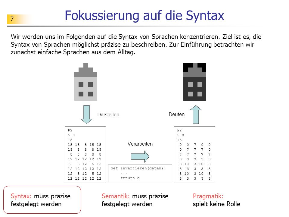 7 Fokussierung auf die Syntax Wir werden uns im Folgenden auf die Syntax von Sprachen konzentrieren. Ziel ist es, die Syntax von Sprachen möglichst pr