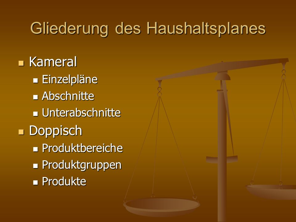 Gliederung des Haushaltsplanes Kameral Kameral Einzelpläne Einzelpläne Abschnitte Abschnitte Unterabschnitte Unterabschnitte Doppisch Doppisch Produkt