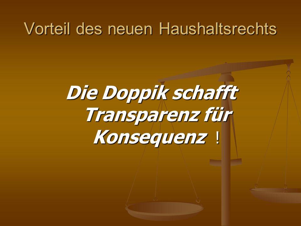 Vorteil des neuen Haushaltsrechts Die Doppik schafft Transparenz für Konsequenz !