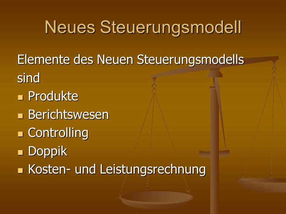 Neues Steuerungsmodell Elemente des Neuen Steuerungsmodells sind Produkte Produkte Berichtswesen Berichtswesen Controlling Controlling Doppik Doppik K