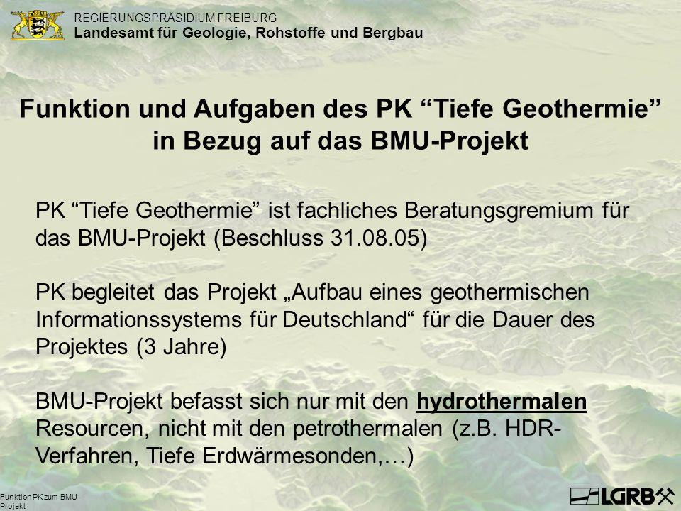 REGIERUNGSPRÄSIDIUM FREIBURG Landesamt für Geologie, Rohstoffe und Bergbau Funktion PK zum BMU- Projekt Funktion und Aufgaben des PK Tiefe Geothermie