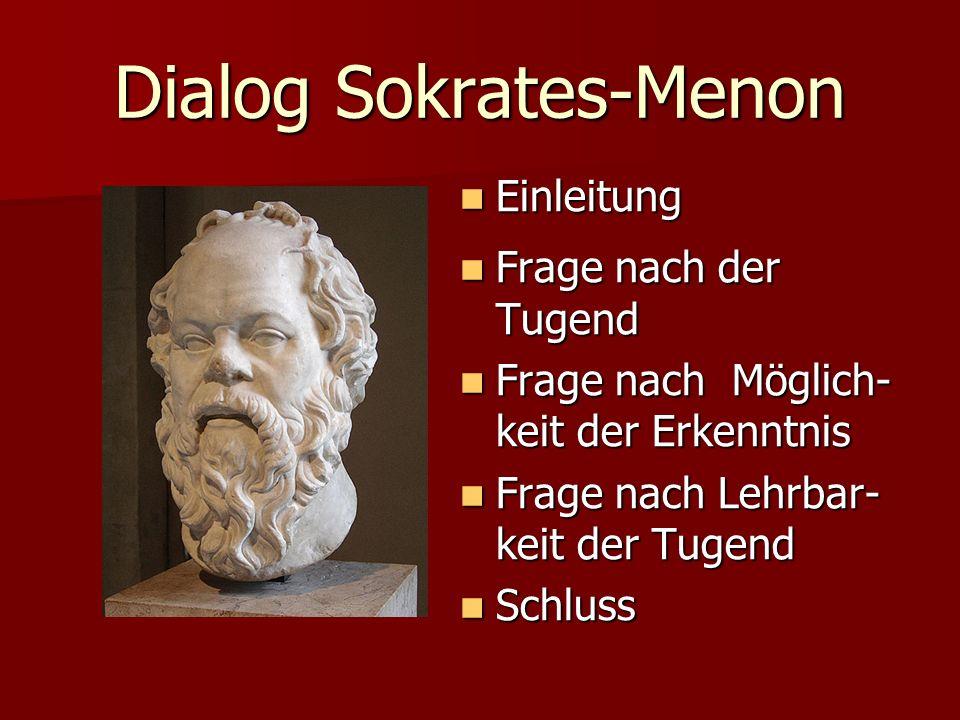Dialog Sokrates-Menon Einleitung Einleitung Frage nach der Tugend Frage nach der Tugend Frage nach Möglich- keit der Erkenntnis Frage nach Möglich- ke