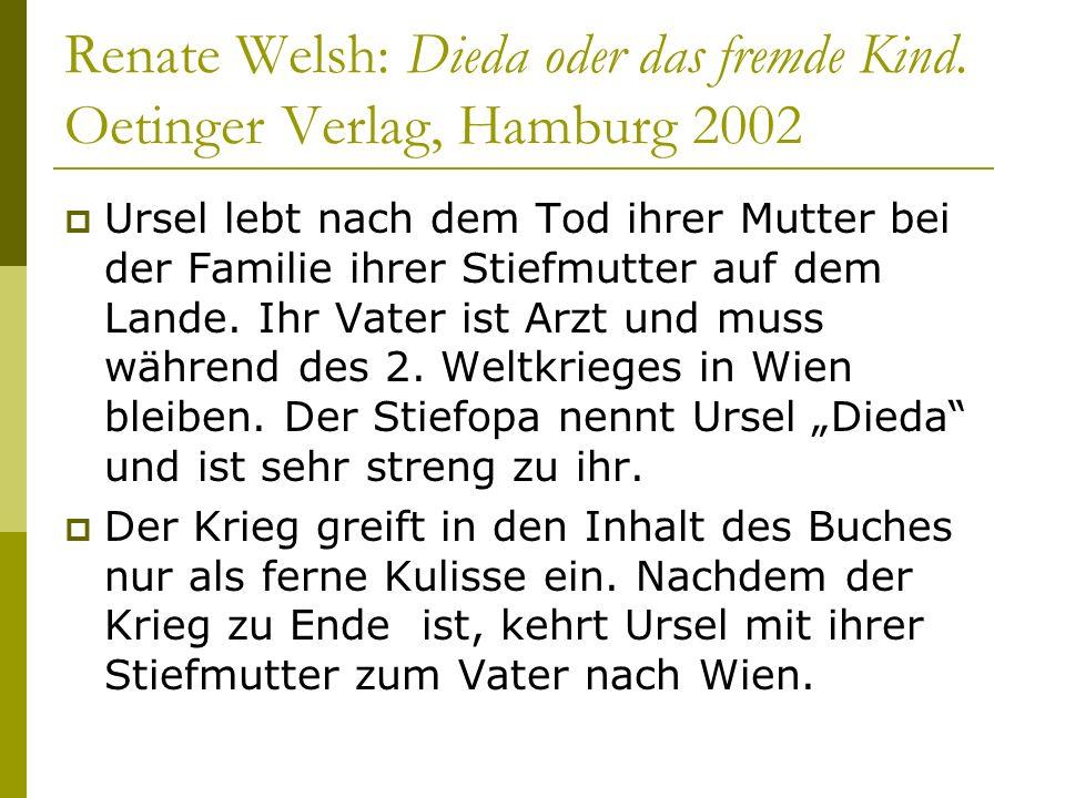 Renate Welsh: Dieda oder das fremde Kind. Oetinger Verlag, Hamburg 2002 Ursel lebt nach dem Tod ihrer Mutter bei der Familie ihrer Stiefmutter auf dem