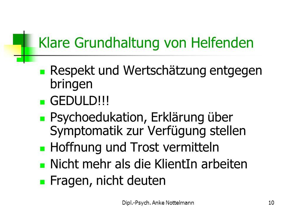 Dipl.-Psych. Anke Nottelmann10 Klare Grundhaltung von Helfenden Respekt und Wertschätzung entgegen bringen GEDULD!!! Psychoedukation, Erklärung über S