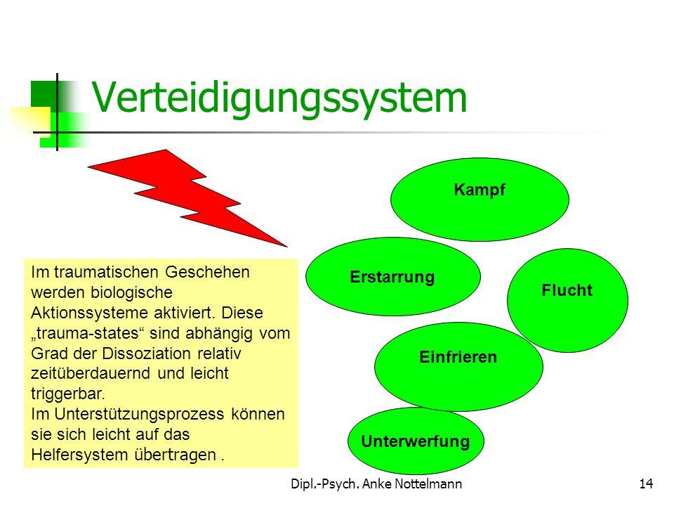 Dipl.-Psych. Anke Nottelmann14 Im traumatischen Geschehen werden biologische Aktionssysteme aktiviert. Diese trauma-states sind abhängig vom Grad der