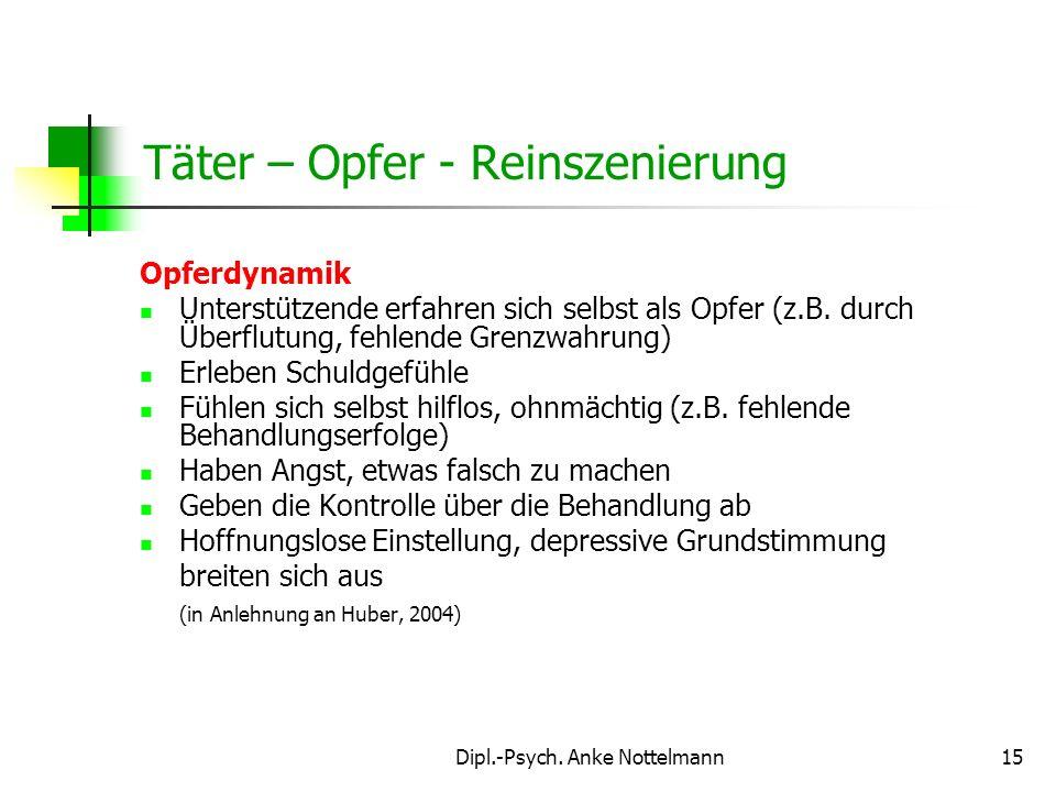 Dipl.-Psych. Anke Nottelmann15 Täter – Opfer - Reinszenierung Opferdynamik Unterstützende erfahren sich selbst als Opfer (z.B. durch Überflutung, fehl