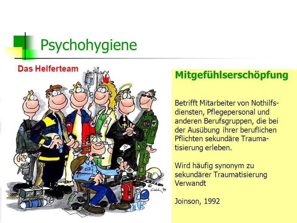Dipl.-Psych. Anke Nottelmann22 Mitgefühlserschöpfung Betrifft Mitarbeiter von Nothilfs- diensten, Pflegepersonal und anderen Berufsgruppen, die bei de