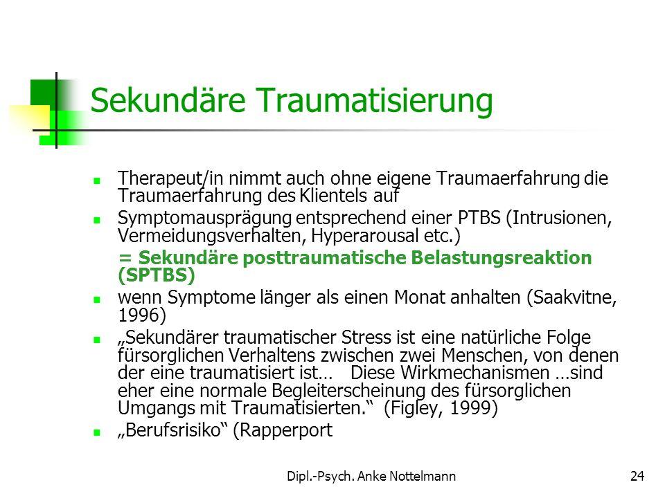 Dipl.-Psych. Anke Nottelmann24 Therapeut/in nimmt auch ohne eigene Traumaerfahrung die Traumaerfahrung des Klientels auf Symptomausprägung entsprechen