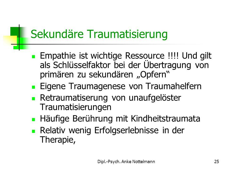 Dipl.-Psych. Anke Nottelmann25 Empathie ist wichtige Ressource !!!! Und gilt als Schlüsselfaktor bei der Übertragung von primären zu sekundären Opfern