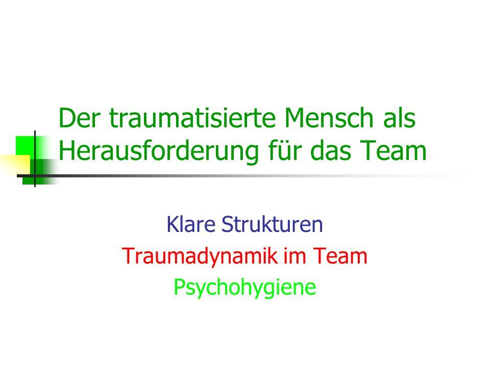 Der traumatisierte Mensch als Herausforderung für das Team Klare Strukturen Traumadynamik im Team Psychohygiene