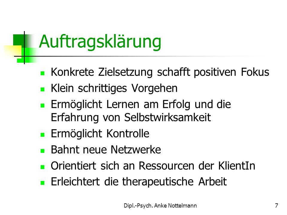 Dipl.-Psych. Anke Nottelmann7 Auftragsklärung Konkrete Zielsetzung schafft positiven Fokus Klein schrittiges Vorgehen Ermöglicht Lernen am Erfolg und