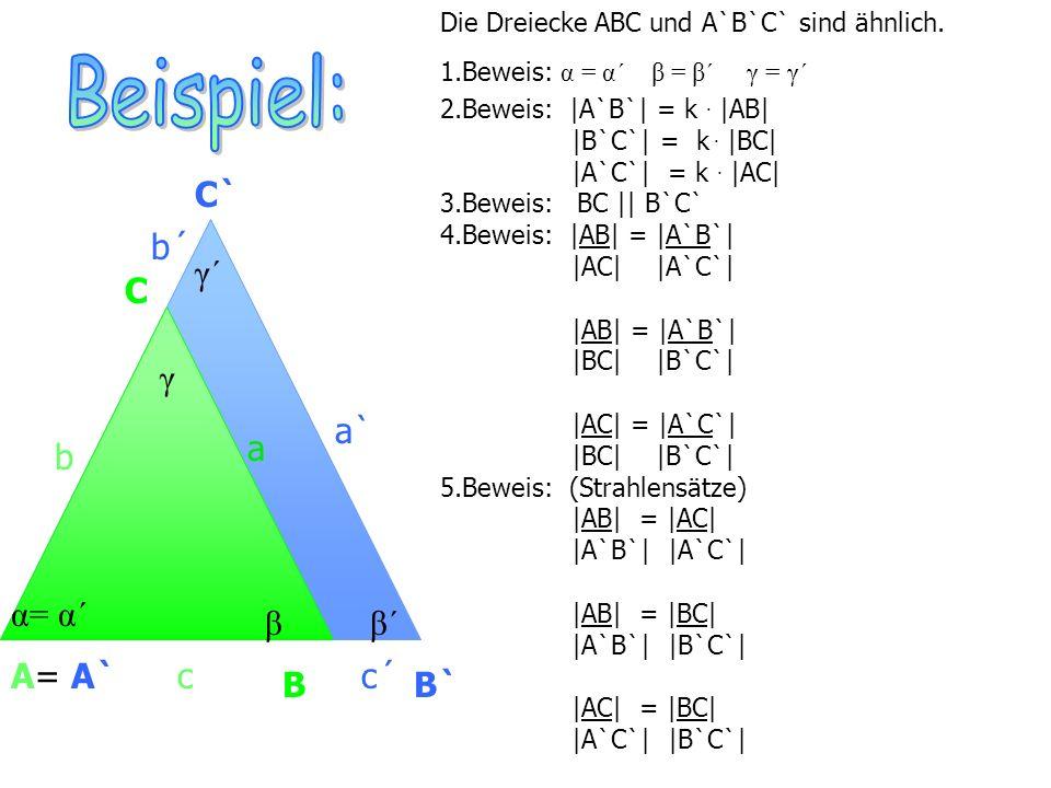 Ähnlichkeitssätze 1.Dreiecke sind ähnlich zueinander, wenn sie in der Größe von zwei Winkeln übereinstimmen.