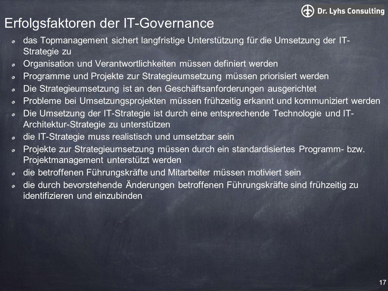 Erfolgsfaktoren der IT-Governance das Topmanagement sichert langfristige Unterstützung für die Umsetzung der IT- Strategie zu Organisation und Verantw