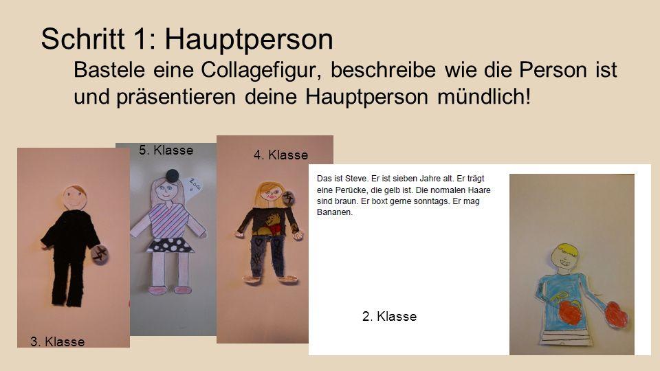 Schritt 1: Hauptperson Bastele eine Collagefigur, beschreibe wie die Person ist und präsentieren deine Hauptperson mündlich! 3. Klasse 5. Klasse 4. Kl