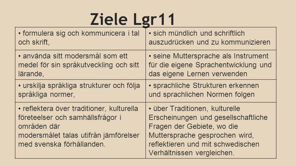 Ziele Lgr11 formulera sig och kommunicera i tal och skrift, sich mündlich und schriftlich auszudrücken und zu kommunizieren använda sitt modersmål som