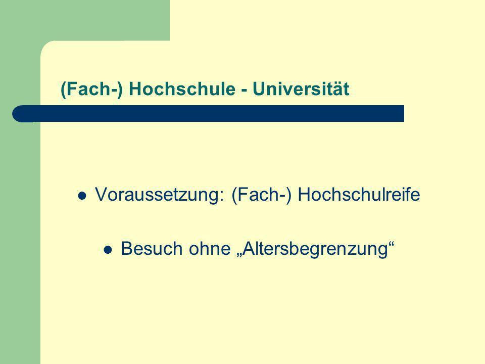 (Fach-) Hochschule - Universität Voraussetzung: (Fach-) Hochschulreife Besuch ohne Altersbegrenzung