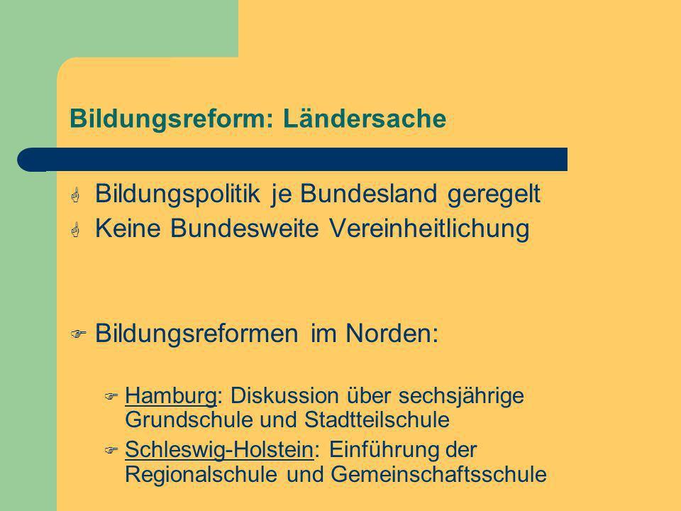 Bildungsreform: Ländersache Bildungspolitik je Bundesland geregelt Keine Bundesweite Vereinheitlichung Bildungsreformen im Norden: Hamburg: Diskussion