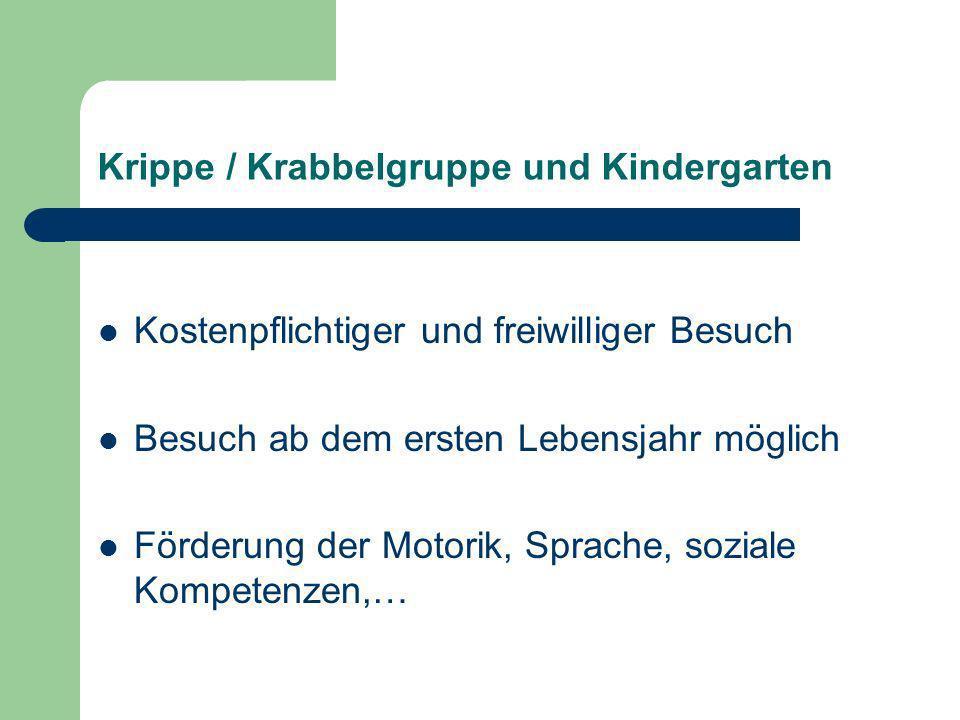 Krippe / Krabbelgruppe und Kindergarten Kostenpflichtiger und freiwilliger Besuch Besuch ab dem ersten Lebensjahr möglich Förderung der Motorik, Sprac