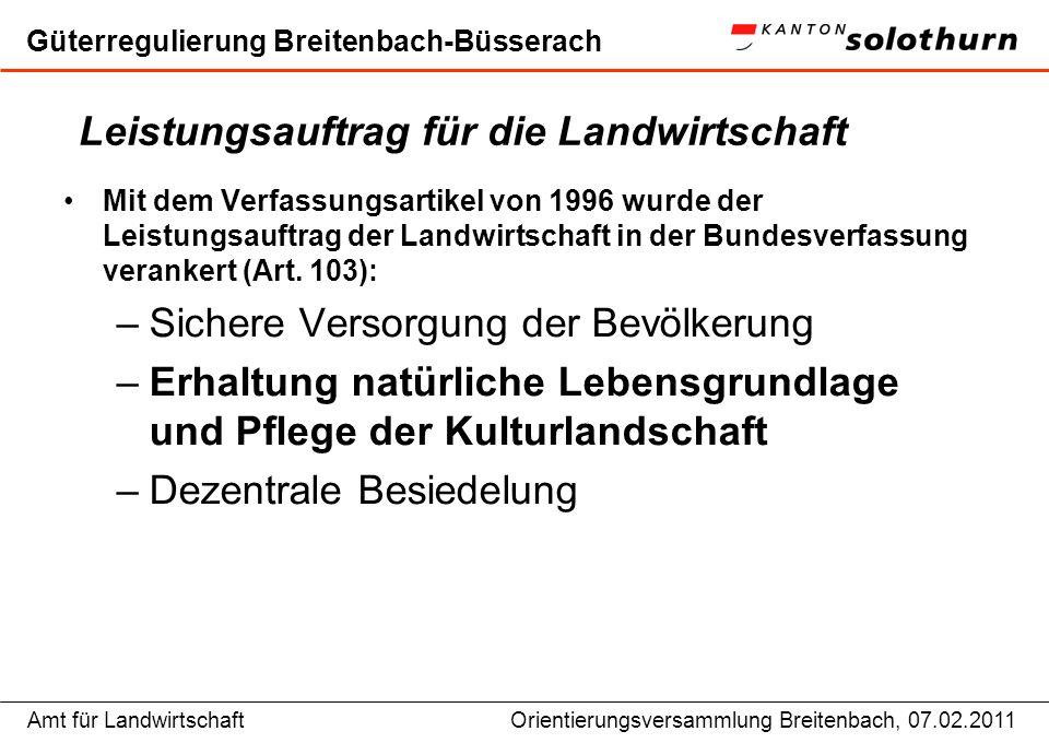 Amt für LandwirtschaftOrientierungsversammlung Breitenbach, 07.02.2011 Güterregulierung Breitenbach-Büsserach Rechtsgrundlagen für Strukturverbesserungen in der Landwirtschaft Bund Bundesverfassung (Art.