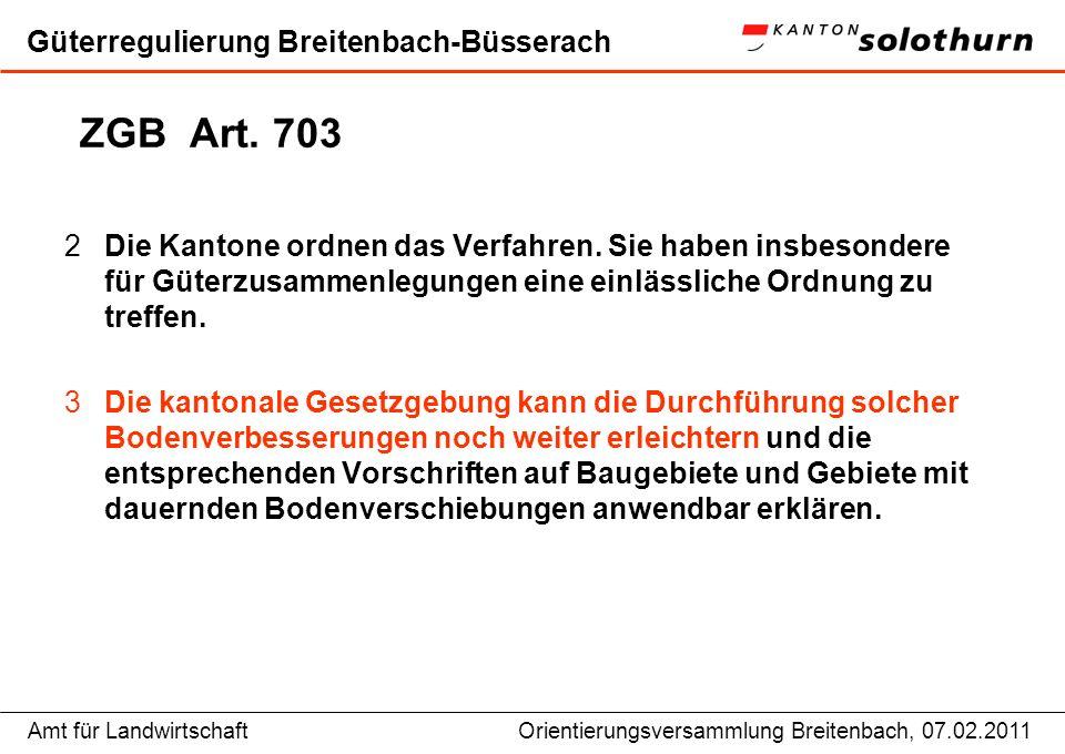 Amt für LandwirtschaftOrientierungsversammlung Breitenbach, 07.02.2011 Güterregulierung Breitenbach-Büsserach Bodenverbesserungsverordnung § 32 2Die Gründung ist beschlossen, wenn mindestens ein Drittel der beteiligten Grundeigentümerinnen und Grundeigentümer, denen mehr als die Hälfte des einbezogenen Bodens gehört, zustimmt.