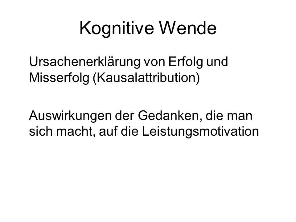 Kognitive Wende Ursachenerklärung von Erfolg und Misserfolg (Kausalattribution) Auswirkungen der Gedanken, die man sich macht, auf die Leistungsmotiva