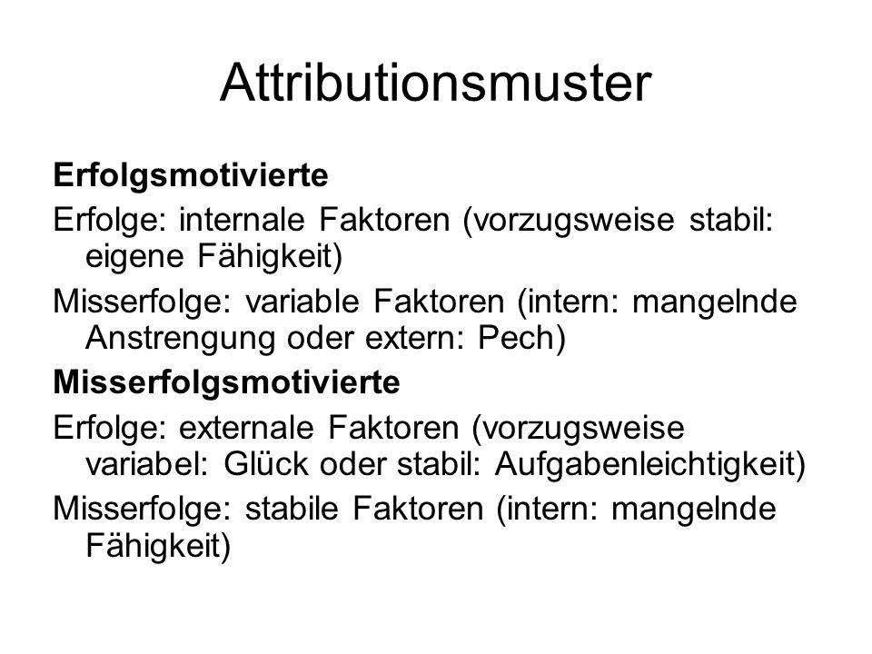 Attributionsmuster Erfolgsmotivierte Erfolge: internale Faktoren (vorzugsweise stabil: eigene Fähigkeit) Misserfolge: variable Faktoren (intern: mange
