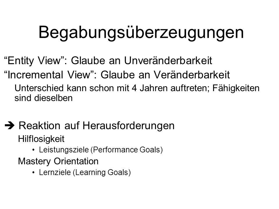 Begabungsüberzeugungen Entity View: Glaube an Unveränderbarkeit Incremental View: Glaube an Veränderbarkeit Unterschied kann schon mit 4 Jahren auftre