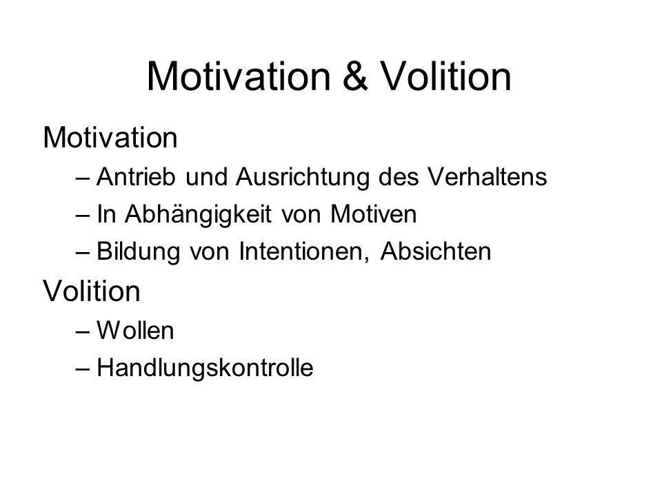 Motivation & Volition Motivation –Antrieb und Ausrichtung des Verhaltens –In Abhängigkeit von Motiven –Bildung von Intentionen, Absichten Volition –Wo