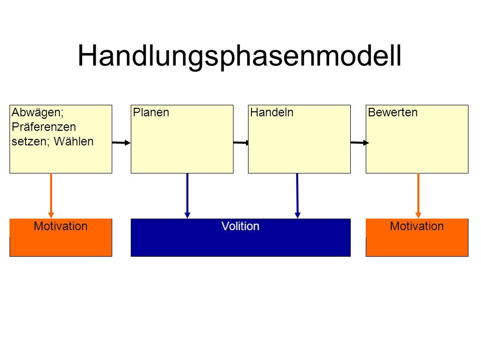 Handlungsphasenmodell BewertenAbwägen; Präferenzen setzen; Wählen PlanenHandeln Motivation Volition