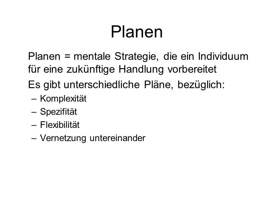 Planen Planen = mentale Strategie, die ein Individuum für eine zukünftige Handlung vorbereitet Es gibt unterschiedliche Pläne, bezüglich: –Komplexität