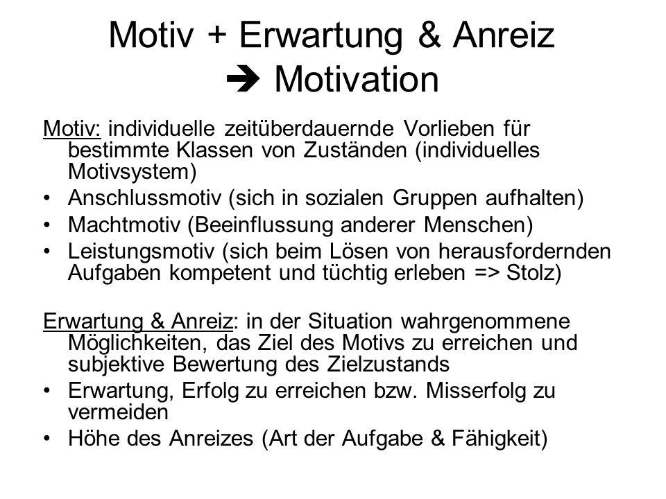 Motiv + Erwartung & Anreiz Motivation Motiv: individuelle zeitüberdauernde Vorlieben für bestimmte Klassen von Zuständen (individuelles Motivsystem) A
