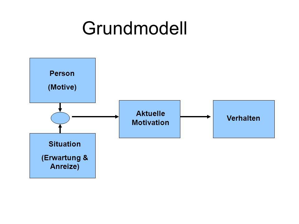 Erwartung x Wert Modell Wahrscheinlichkeit des Erfolges Leistungsmotiv Motiv, Misserfolg zu vermeiden Attraktivität der Aufgabe Modifiziert nach Atkinson, 1957