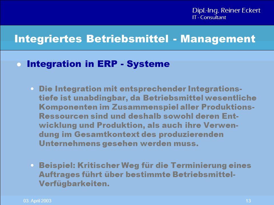 Dipl.-Ing. Reiner Eckert IT - Consultant 03. April 2003 13 l Integration in ERP - Systeme Die Integration mit entsprechender Integrations- tiefe ist u
