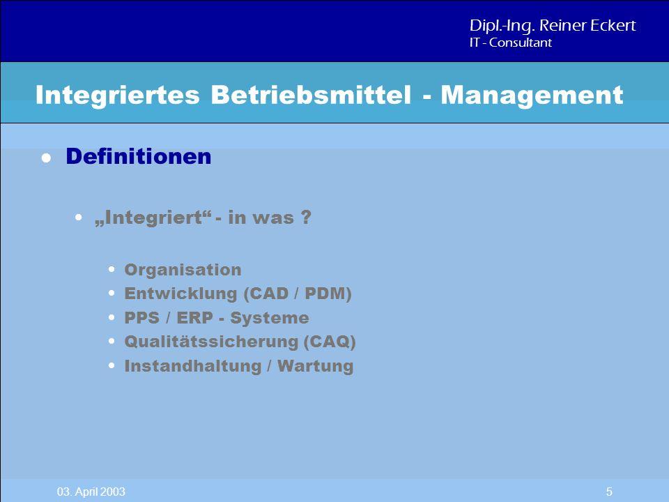 Dipl.-Ing. Reiner Eckert IT - Consultant 03. April 2003 5 l Definitionen Integriert - in was ? Organisation Entwicklung (CAD / PDM) PPS / ERP - System