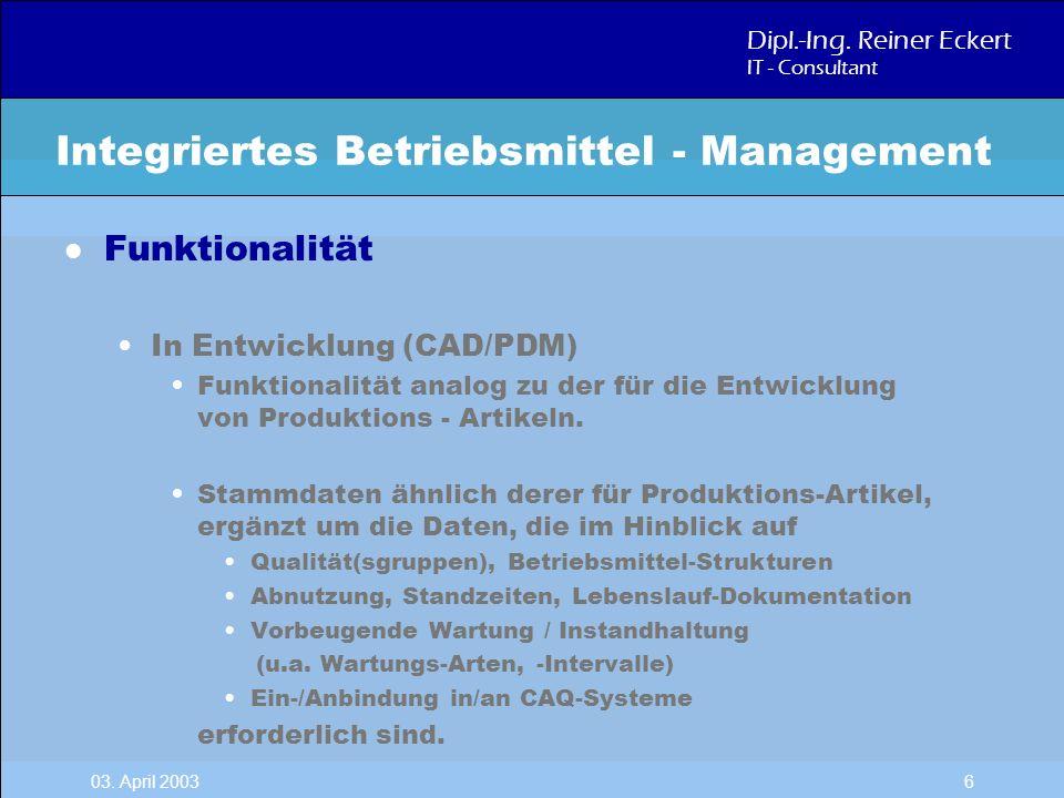 Dipl.-Ing. Reiner Eckert IT - Consultant 03. April 2003 6 l Funktionalität In Entwicklung (CAD/PDM) Funktionalität analog zu der für die Entwicklung v