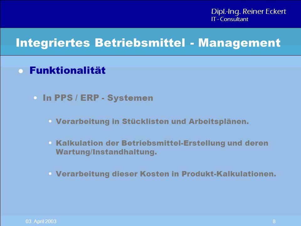 Dipl.-Ing. Reiner Eckert IT - Consultant 03. April 2003 8 l Funktionalität In PPS / ERP - Systemen Verarbeitung in Stücklisten und Arbeitsplänen. Kalk