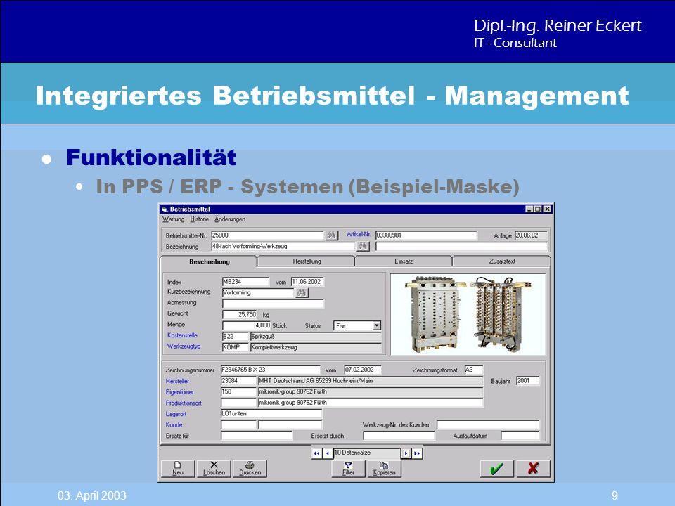 Dipl.-Ing. Reiner Eckert IT - Consultant 03. April 2003 9 l Funktionalität In PPS / ERP - Systemen (Beispiel-Maske) Integriertes Betriebsmittel - Mana